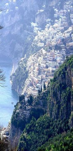 The towering beach village of Positano, Italy