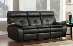 Homelegance Wallace Double Recliner Sofa - Black - Bonded Leather Match Price: $824.00