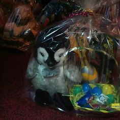 Basket with a nerf ball new and a penguin doll Basket with eggs toys and candy with nerf ball and penguin doll big Other