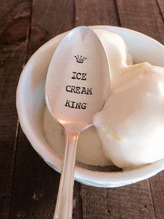 Ice Cream King vintage hand stamped tea spoon by ThePaperSpoon4U