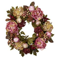 Looking for Nearly Natural 4930 Peony Hydrangea Wreath, Autumn ? Check out our picks for the Nearly Natural 4930 Peony Hydrangea Wreath, Autumn from the popular stores - all in one. Peonies And Hydrangeas, Red Peonies, Peonies Garden, Artificial Peonies, Flower Circle, Ideas Hogar, Berry Wreath, Pink Wreath, Green Wreath