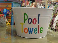 personalized pool towel bucket!