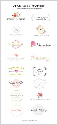 UPDATE NOVEMBER 26th: NEW LOGOS IN THE DEAR MISS MODERN SHOP! Click Here to see them all:  Miss Modern Studio Logos Original post: Ok, here it is:  I LOVE to design logos, and I adore making them available in the Dear Miss Modern Shop for you guys.  New logos are WAY overdue (embarrassingly…