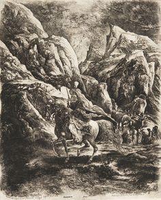 Le Cavalier oriental dans les montagnes de Rodolphe Bresdin, 1866, eau-forte.