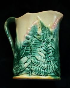 "Antique Etruscan Majolica ""Griffin, Smith "" GSH Fern Leaf Pitcher"