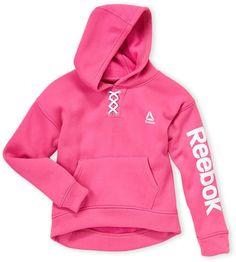 Reebok Girls Lace Up Spun Poly Fleece Hooded Pullover