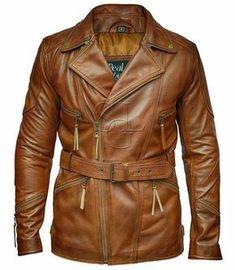 Mens 3 4 Motorcycle Biker Brown Distressed Vintage Leather Jacket. eBay.  Fashion Jackets For Men. 3c87d76d3fc