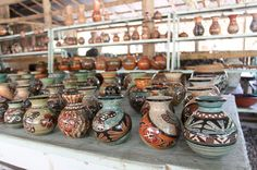 shelves of pottery willys guaitil   - Costa Rica