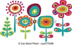 Vector - Cute colorful flowers - stock illustration, royalty free illustrations, stock clip art icon, stock clipart icons, logo, line art, EPS picture, pictures, graphic, graphics, drawing, drawings, vector image, artwork, EPS vector art