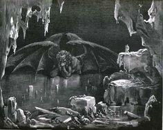 Lucifer, King of Hell is an engraving by Gustave Dore to illustrate Canto XXXIV of Dante Alighieri's Divine Comedy. Lucifer lurks in the ninth circle of Hell.   Dore, French artist and illustrator, 1832-1883. Alighieri, Italian poet, 1265-1321.