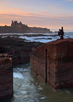 Tantallon Castle ruins from Seacliff Harbour - East Lothian, Scotland.