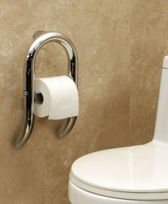 Interesting: This is a Toilet Roll Holder with Integrated Support Rail. Soft lines and graceful curves blend effortlessly with practicality and function. With a solid handrail that provides discreet support, this fluid and versatile design captures the essence of contemporary and modern flare.