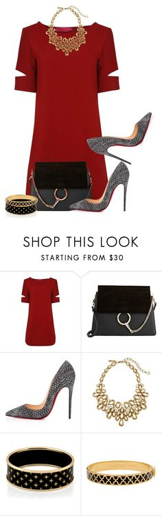 """Untitled #2109"" by jodilambdin ❤ liked on Polyvore featuring Boohoo, Chloé, Christian Louboutin, Oscar de la Renta and Halcyon Days"