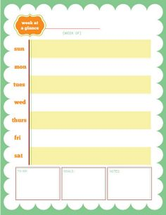 Free Week at a glance printable  organization!