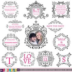 Buy 1 Get 1 Free Retro Wedding Frames Invitations Decorations Design Elements Digital ClipArt Label Logo Card WS453 INSTANT DOWNLOAD by SasiyaDesigns on Etsy