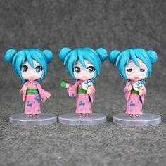 3pcs/set 9cm Hatsune Miku with kimono PVC Action Figure Toys Toppers Terrarium Collections by MsDIYSupplies on Etsy