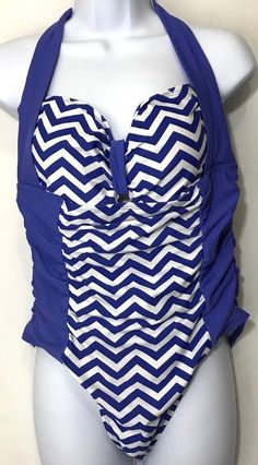 c70561d860 Adore Me Swimsuit XL One Piece Chevron Ruched Electric Blue Halter Swimwear