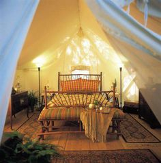 Wood platforms, rugs, and heavy duty tents.