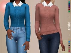 -a cute top , consists of a shirt with knitted sweater on top a comfy, stylish casual style Found in TSR Category 'Sims 4 Female Everyday'