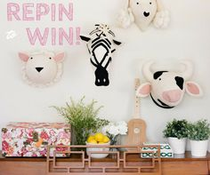 REPIN to WIN!   We're giving away the playful and sweet Cow & Sheep Fiona Walker animal head wall decor to two lucky winners! To Enter: Repin this pin to any board on your Pinterest account and comment below your choice of either Cow or Sheep Wall Decor!  *Limit one entry per person. You must have a Pinterest account and repin from this Pinterest link in order to enter this giveaway. Giveaway closes April 30 2015, at midnight PST. Winner will be selected at random and announced by May 1, 2015.