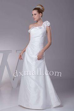 Drop Waist Wedding Dresses One Shoulder Floor Length Satin White 010010700822