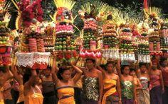 Colorful odalan temple anniversary procession, Bali