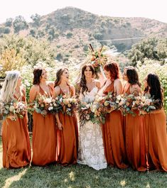 An Autumnal Boho Wedding with Rust Bridesmaids Dresses, Spicy Fall Florals, and Copper Details