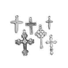 Silvertone Cross Charms - OrientalTrading.com