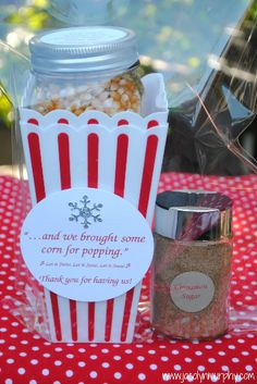 I did a gift tin with popcorn inside. Glued the note to top. Also included 2 penzeys spice mixes with notes on top.