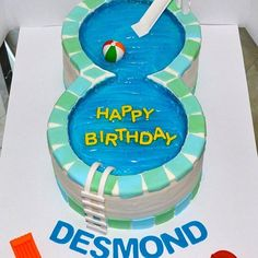 Swimming Pools Cakes - 25 Pool Party Cakes That Make a Splash!: While some Summer babies celebrate their birthday by the beach, others opt for an old-fashioned pool party. Pool Birthday Cakes, Pool Party Cakes, 8th Birthday Cake, Pool Cake, Summer Birthday, Boy Birthday, Birthday Ideas, Pool Parties, Party Party