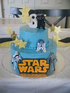 Star Wars Cake Idea - like the tiers and the stars Star Wars Pinata, Star Wars Cake, Star Wars Party, Happy Birthday Celebration, Celebration Cakes, Birthday Parties, 5th Birthday, Birthday Ideas, Star Wars Birthday Cake