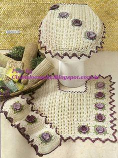 Crochet bathroom set ❤️LCB-MRS❤️ with diagrams ------ Clube do Crochê: Jogo de Banheiro Camila Fashion Marfim e roxo (com gráfico)
