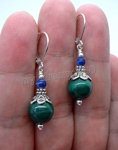 Beautiful Natural Malachite ,Lapis Lazuli Silver Drop/Dangle Leverback Earrings