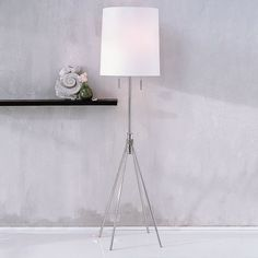 "$149  Adjustable Metal Floor Lamp from West Elm  18""w; adjusts from 58"" to 70""h.  Shade: 18""diam. x 20""h."