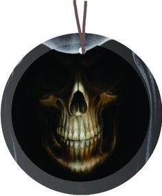 $23.95-$31.14 This Hooded Grim Reaper Glass Ornament Suncatcher is Beautiful for Holiday decorating or as small Suncatchers for year round use. It is flat and measures 3.5in x 1/8in thick has a beveled front and Hole for hanging. These ornaments can be hung on the wall - or used on the nightstand as a coaster etc