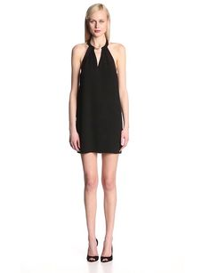 This inspired number combines the elegance of a tuxedo with the sultry quality of a halter neck dress.
