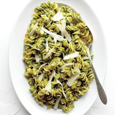 The ridges in spiral-cut fusilli are ideal for catching this fresh green sauce. Orecchiette or penne rigate would also work well.