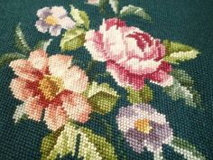 "HUGE 24"" Pink Cabbage Roses on Deep Green Vintage Needlepoint Cottage Home"