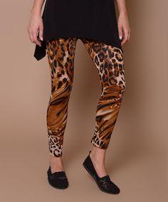 Look at this #zulilyfind! Lbisse Brown Leopard Leggings by Lbisse #zulilyfinds