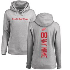 Detroit Red Wings Fanatics Branded Women's Personalized Backer Pullover Hoodie - Ash