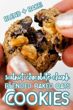 EASY cookies you make in your blender! A cookie version of the famous TikTok blended baked oats, made with California walnuts and chocolate chunks for a brilliant snack experience! Vegan, gluten free and better for you! #RaiseYourSnackIQ #AD Vegan Treats, Vegan Snacks, Healthy Snacks, Healthy Eating, Iced Sugar Cookies, Oat Cookies, Delicious Breakfast Recipes, Yummy Food, Best Vegan Recipes