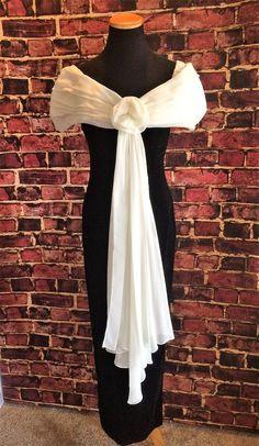Elegant and Sexy 1980's Ebony and Ivory Velvet Evening Gown by CobbWebbTreasures on Etsy