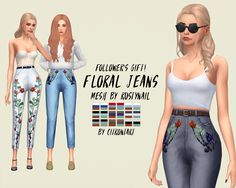 FLORAL JEANS RECOLOUR #sims4cc #sims4customcontent