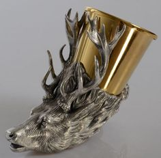 Stag Stirrup Cup, Bronze, Silver and Gold Plated Animal Heads, Grey And Gold, Horns, Pewter, Plating, Copper, Bronze, Sterling Silver, Antiques