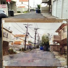 Rainy alleyway sketch #paint #painting #pleinair #pleinairpainting #practice #art #artist #artistworkout #artistsoninstagram #apaintingeveryday #study #sketch #fineart #landscape #cityscape #urbanart #instaart #watercolor #watercolorpainting by tadretz