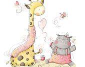 Children Illustration - Nursery - Cute baby hippo and giraffe
