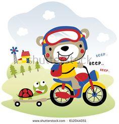 cute bear drive motorcycle, kids t shirt design, wallpaper, vector cartoon illustration