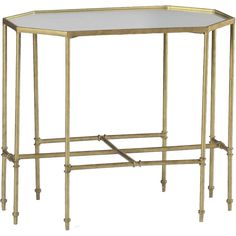 A classic, octagonal side table with intersecting stretchers and eglomise mirrored top is great in front of a settee or in an elegant powder room.  <b>Material: Metal & Eglomise Mirror Finish: Gilded Gold/Eglomise Mirror</b>