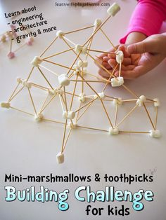 Mini-marshmallow and toothpick building challenge for kids #sp