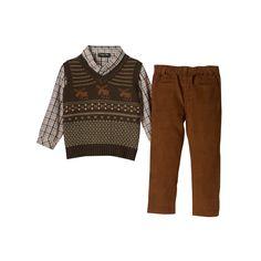 Baby Boy Only Kids Apparel Argyle Sweater Vest, Plaid Shirt & Corduroy Pants Set, Size: 24 Months, Brown